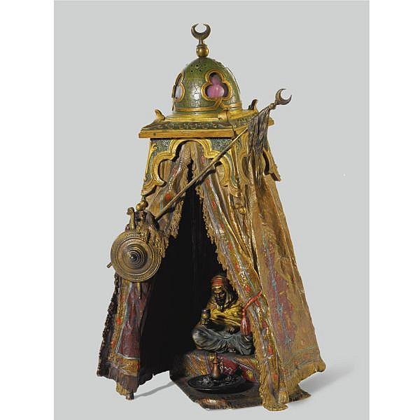 Franz Bergman , Austrian Late 19th century   Table Lamp cold painted bronze
