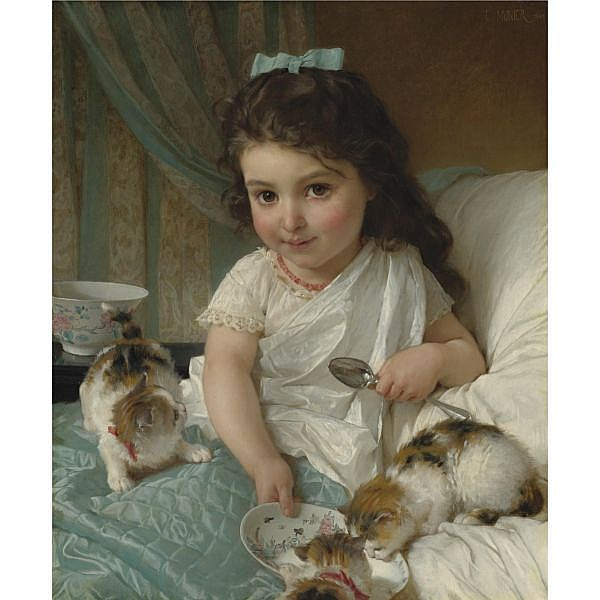 Émile Munier , French 1840-1895   The Morning Meal oil on canvas