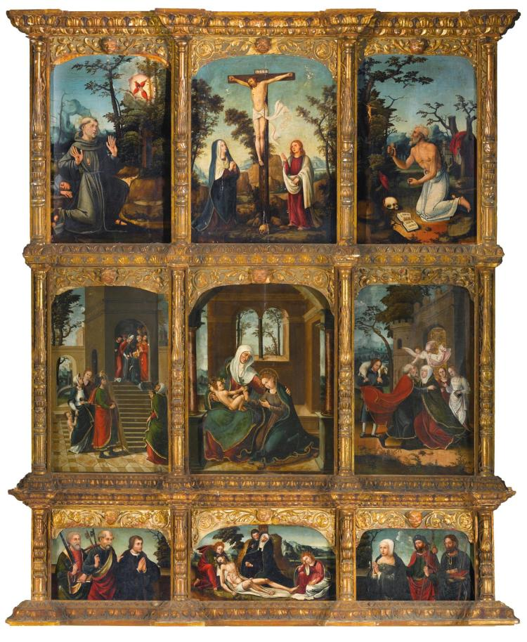 ANTONIO VÁZQUEZ | An altarpiece with scenes from the Life of the Virgin