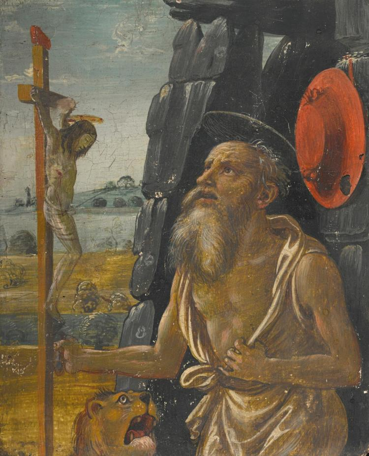 ATTRIBUTED TO ARCANGELO DI JACOPO DEL SELLAIO | The penitent Saint Jerome in the wilderness