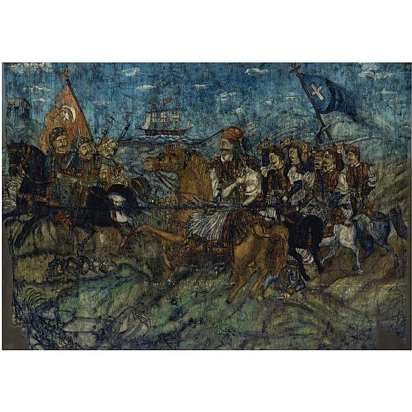 Theofilos (Hadjimichail) , Greek 1867-1934 karaiskakis at the battle of faliron, 22 April 1826 oil on canvas