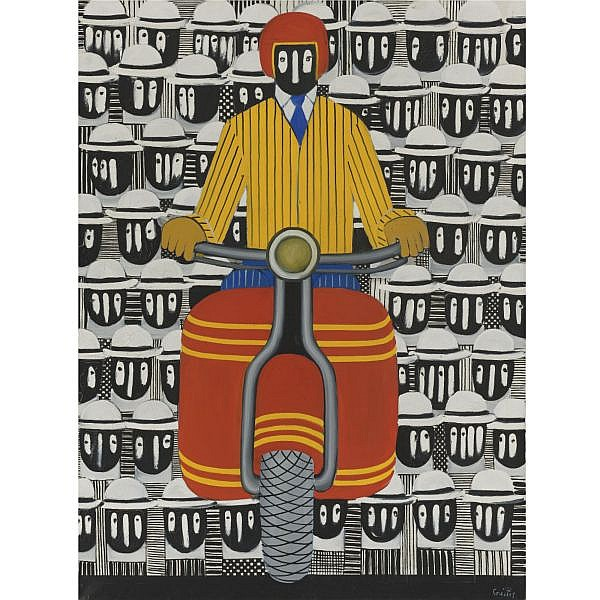- Yiannis Gaitis , Greek 1923-1984 motorcyclist   oil on canvas