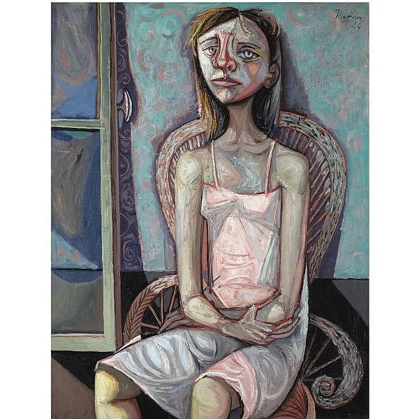 Mario Prassinos , Greek 1916-1985   fille de joie oil on canvas