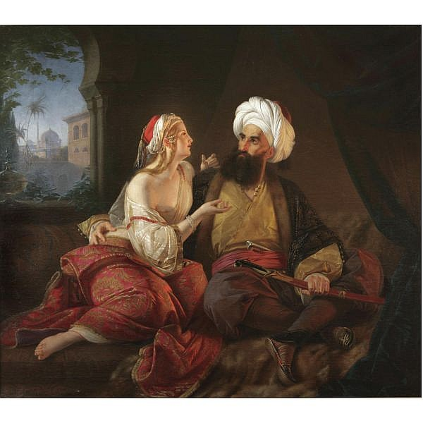 Paul Emil Jacobs , German 1802-1866 the pasha's favourite (ali pasha and kira vassiliki) oil on canvas