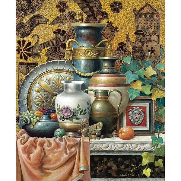 - Theodoros Manolidis , Greek b. 1940 still life oil on canvas