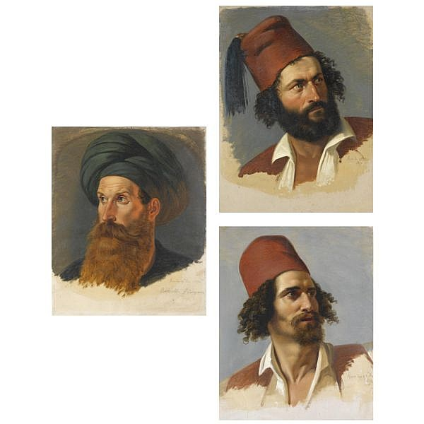Paul Emil Jacobs , German 1802-1866 portraits of two greek freedom fighters and the ali pasha oil on paper (three works)