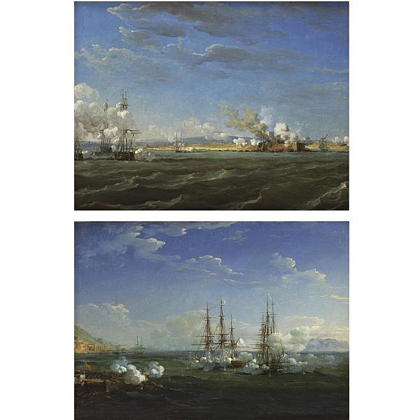 Attributed to Louis-Philippe Crépin , French 1772 - 1851 the battle at Nafplion: a pair oil on canvas (two works)