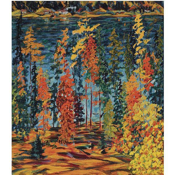 Philipp Bauknecht , 1884-1933   Herbst, Davoser See oil on hessian