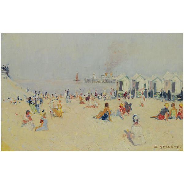 Frans Smeers , 1873-1960   Beach Scene oil on canvas