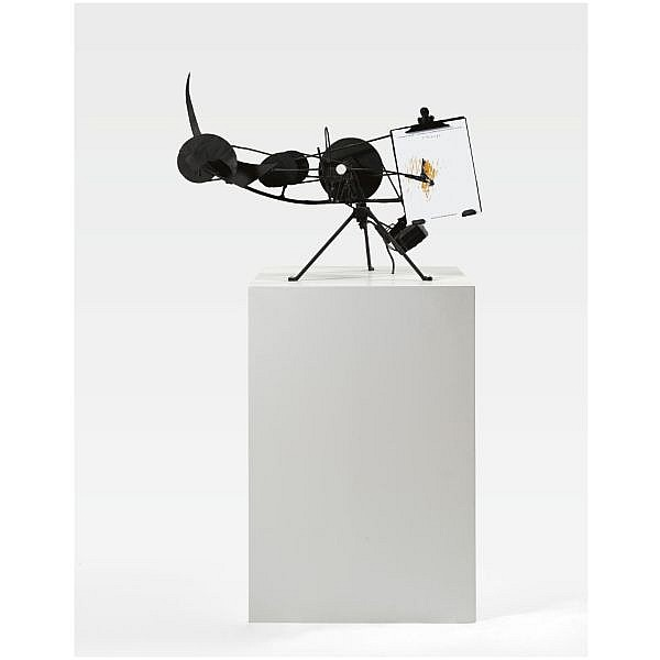 - Jean Tinguely , 1925-1991 Métamatic No. 7 painted metal, wires, steel, rubber belts, electric motor and paper