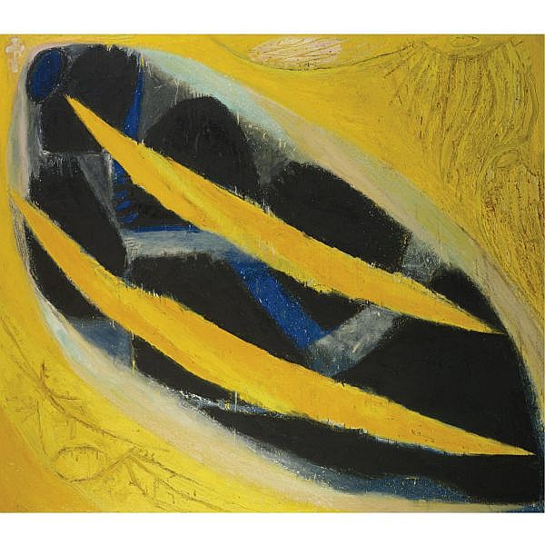 Frank Lobdell , b. 1921 Dark Presence III (yellow) oil on canvas