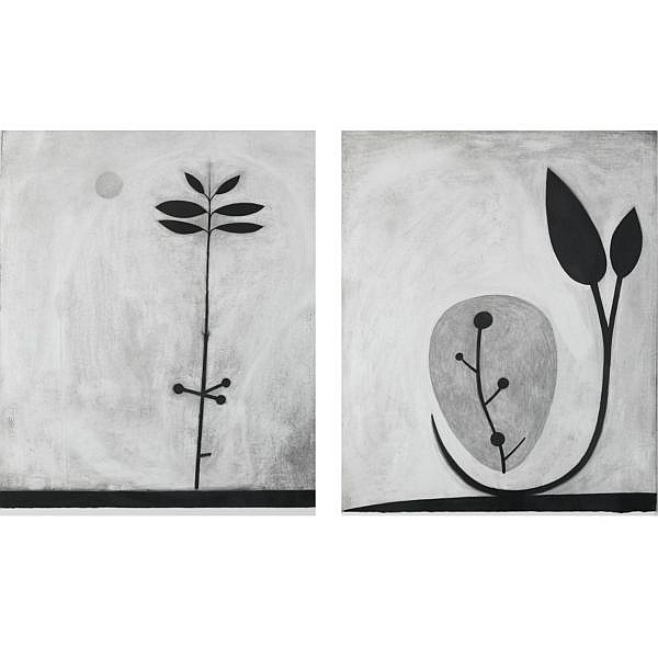 David Storey , b. 1948 Untitled: A pair of drawings   charcoal on paper