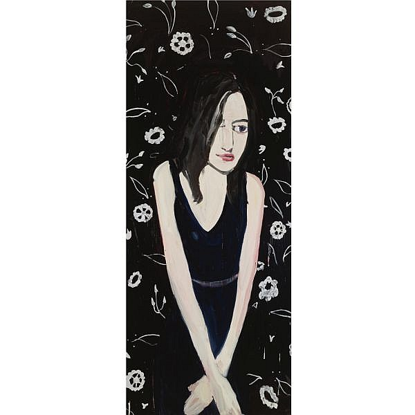 Chantal Joffe , b. 1969 Long Haired Brunette with White Wallpaper oil on board