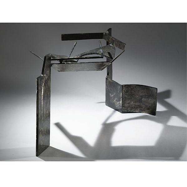 Peter Reginato , b. 1945 Black Bottom welded and black painted metal
