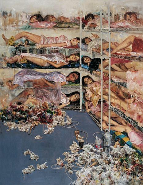 Tu Hongtao , B. 1976   Pain With Pleasure oil on canvas