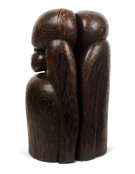 Wang Keping , B. 1949 Couple wood sculpture