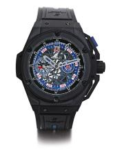 HUBLOT   A LIMITED EDITION BLACKENED CERAMIC AND TITANIUM AUTOMATIC CHRONOGRAPH WRISTWATCH WITH DATE AND REGISTERS<br />CASE 988250 NO 095/200 KING POWER PARIS SAINT GERMAIN CIRCA 2014
