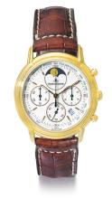 JAEGER-LECOULTRE | A YELLOW GOLD CHRONOGRAPH WRISTWATCH WITH DATE AND MOON PHASES<br />REF 165.7.30 NO 320 ODYSSEUS CIRCA 1995