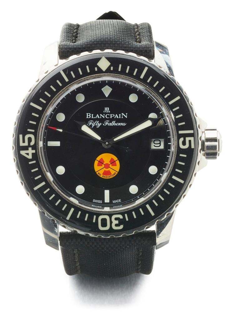 BLANCPAIN | A STAINLESS STEEL AUTOMATIC CENTER SECONDS WRISTWATCH WITH DATE AND RADIOACTIVITY INDICATOR NO 287/500 TRIBUTE TO FIFTY FATHOMS CIRCA 2011