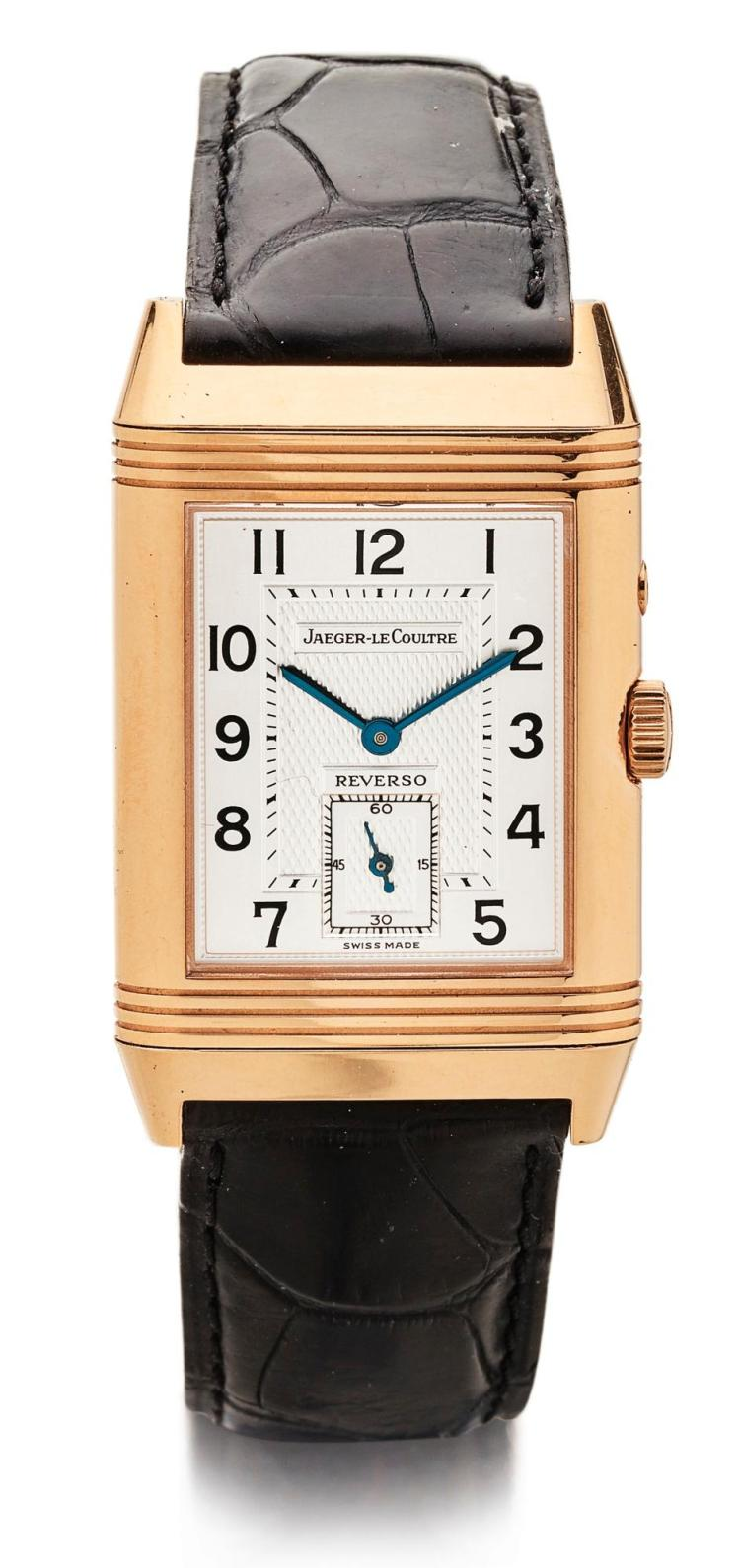JAEGER-LECOULTRE | A PINK GOLD RECTANGULAR REVERSIBLE DOUBLE DIALED DUAL TIME WRISTWATCH WITH DAY/NIGHT AND 24 HOUR INDICATION REF 270254 CASE 1873842 REVERSO CIRCA 2000
