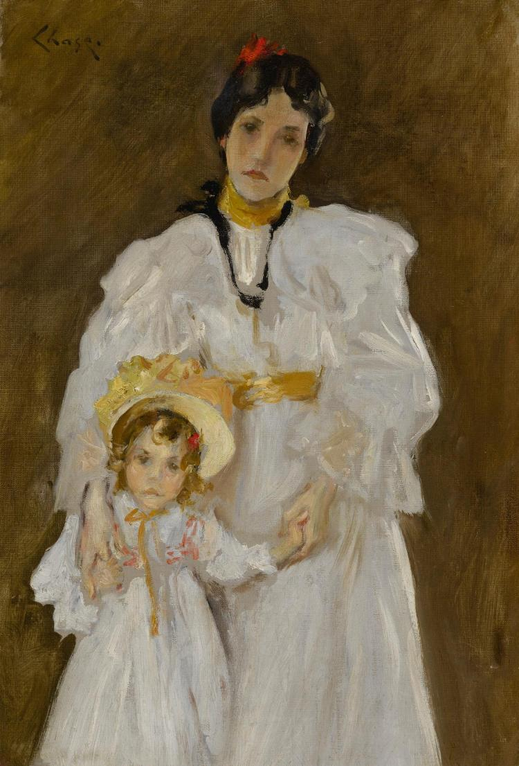 WILLIAM MERRITT CHASE | Double Portrait: A Sketch (Sketch for the Portrait of Mother and Child)