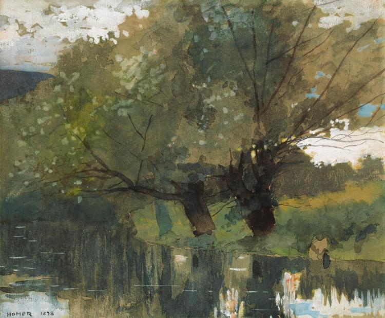 WINSLOW HOMER | Pond and Willows, Houghton Farm