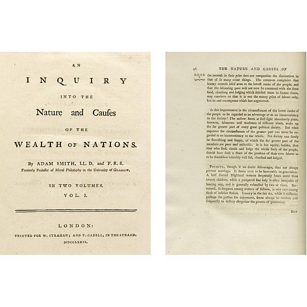 Smith, Adam. , An Inquiry into the Nature and Causes of the Wealth of Nations. For W. Strahan; and T. Cadell, 1776