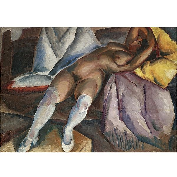 f - Aleksey Ilych Kravchenko, 1889-1940 , reclining nude oil on canvas