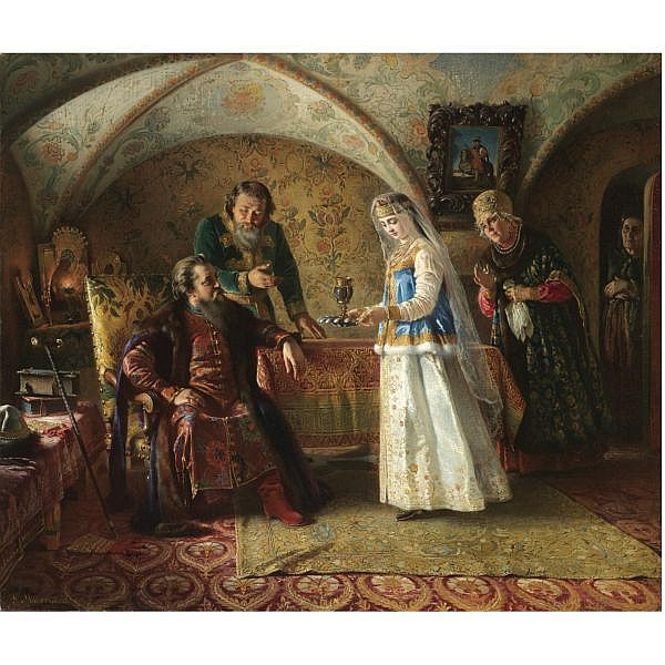 f - Konstantin Egorovich Makovsky, 1839-1915 , From the everyday life of the Russian Boyar in the late XVII century oil on canvas