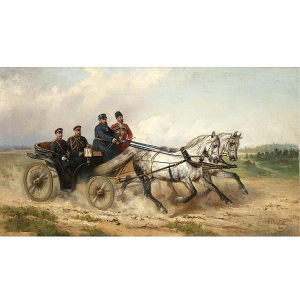 Nikolai Egorovich Sverchkov, 1817-1898 , Tsar Alexander III and Kaiser Wilhelm in a landau oil on canvas
