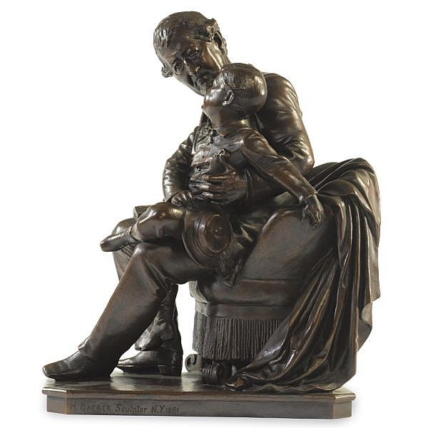 Henry Baerer , American 1837-1908 The alphabet lesson bronze, rich brown patina