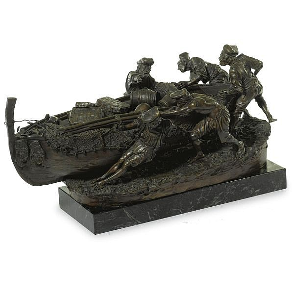 Giovanni de Martino , Italian b. 1870 Fishermen   bronze, brown patina, raised on a later green marble rectangular base