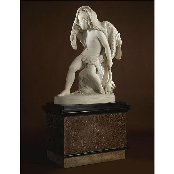 Giovanni Maria Benzoni , Italian 1809-1873 Cupid white Carrara marble , on a later black and purple-inlaid marble pedestal