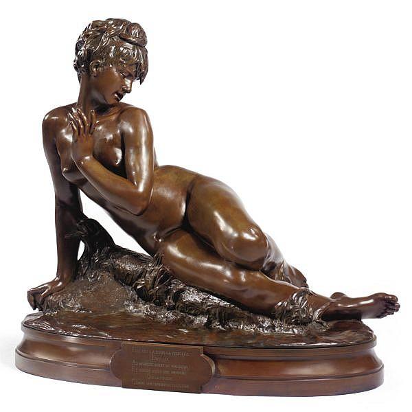 Mme Léon Bertaux, née Héléna Hébert , French 1825-1909 Jeune fille au Bain bronze, light brown patina