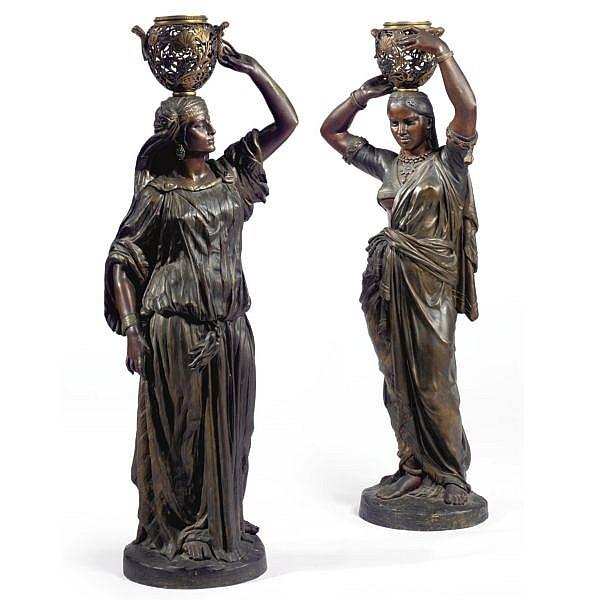 Charles-Henri-Joseph Cordier , French 1827-1905 torchÈres femme arabe et femme indienne portant un vase sur la tÊte bronze, polychrome patina and enamel