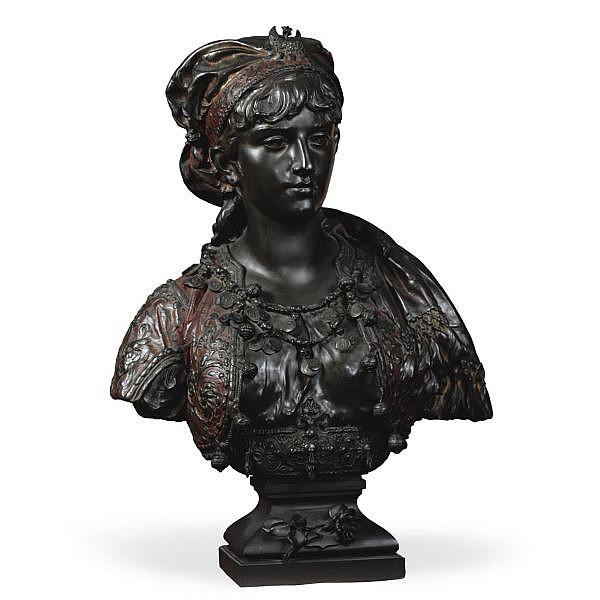 Adrien-Etienne Gaudez , French 1845-1902   Princesse Turque bronze, dark brown patina with red polychromy
