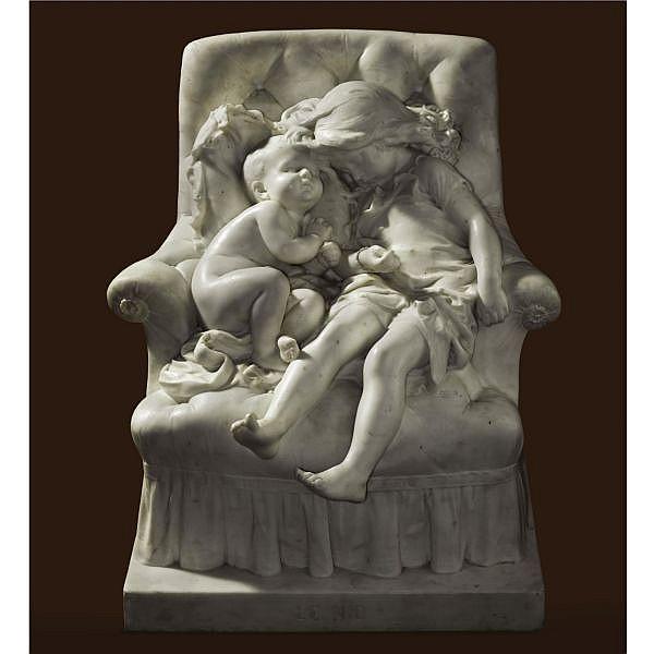 Aristide-Onésime Croisy , French 1840-1899   Le Nid white Carrara marble