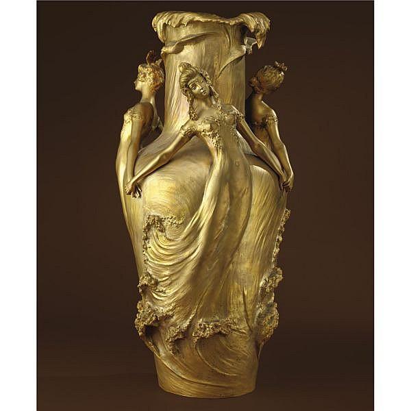 Louis Chalon , French b. 1866 Les Filles des Vagues   gilt-bronze