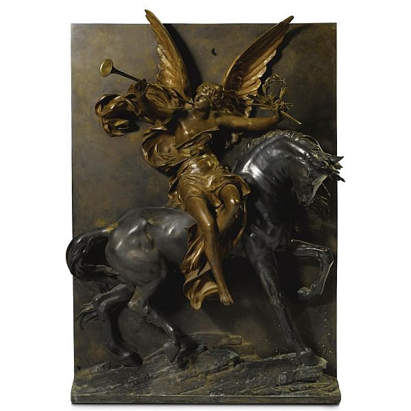 Jules-Félix Coutan , French 1848-1939 A relief of Victory bronze, light and dark brown patina