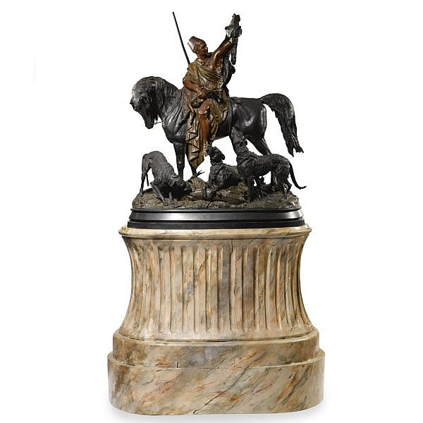 Arthur Waagen , French fl. 1870-1890 Kabyle Au Retour de la Chasse bronze, dark brown and polychrome patina, raised on a later faux marble painted and fluted wooden pedestal