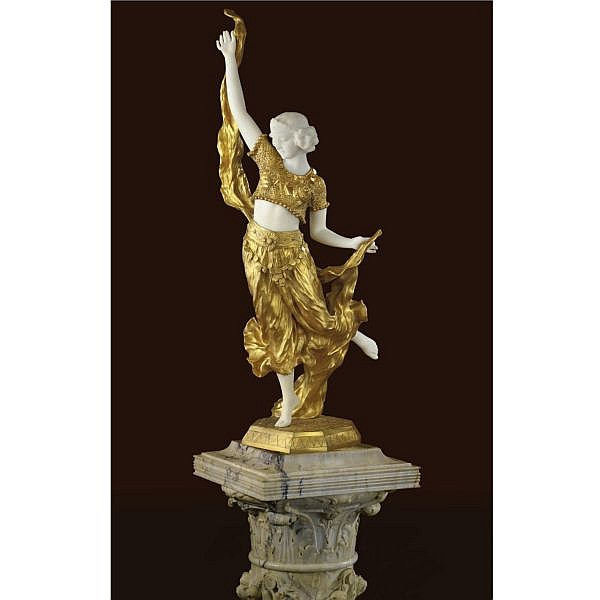 Affortunato Gori , Italian Active 1895-1925 Belly Dancer   gilt-bronze and marble, raised on an associated grey marble pedestal