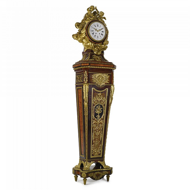 A LOUIS XVI STYLE GILT-BRONZE MOUNTED MAHOGANY, KINGWOOD AND HAREWOOD REGULATEUR DE PARQUET AFTER THE CELEBRATED MODEL BY J. H RIESENER PARIS, CIRCA 1890