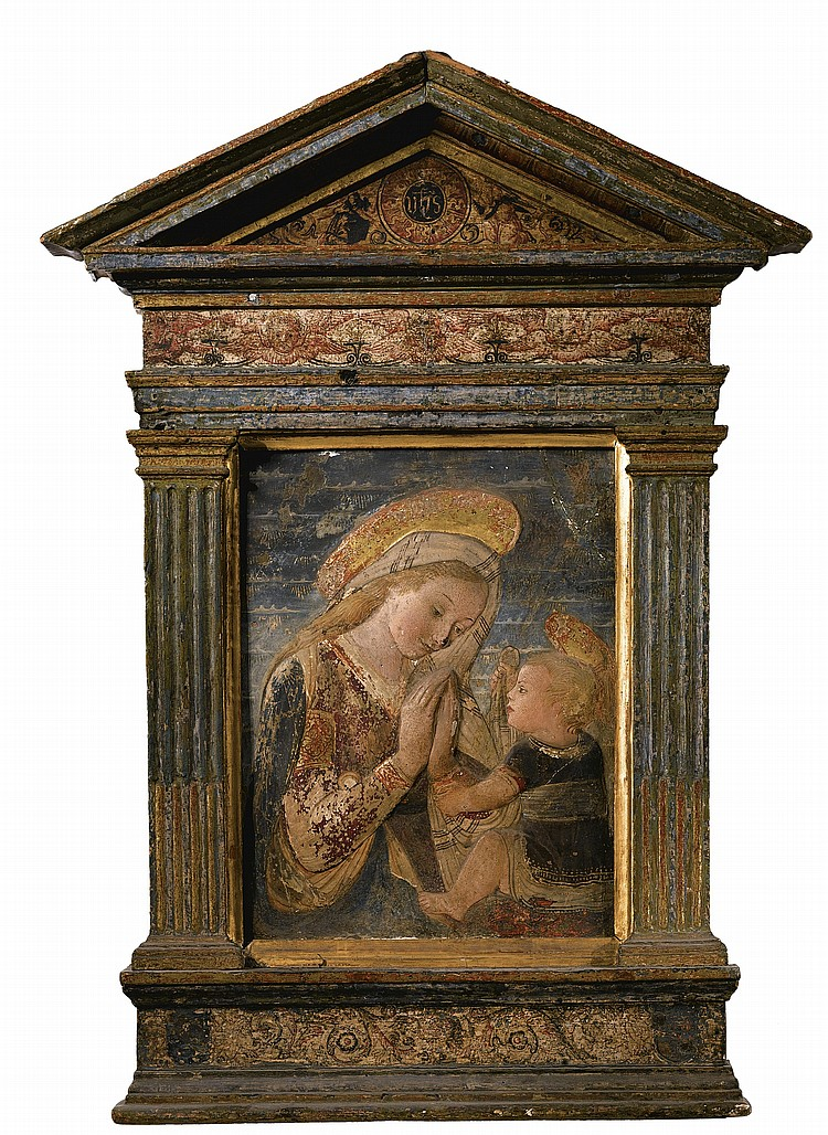 AN ITALIAN GILT AND PAINTED STUCCO RELIEF OF THE MADONNA AND CHILD, AFTER THE STYLE OF DESIDERIO DA SETTIGNANO (CIRCA 1430-1464)