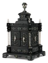 AN AUSTRIAN EBONY CABINET MOUNTED IN ROCK CRYSTAL, SILVER AND ENAMEL, HERMAN RATZERSDORFER, VIENNA, LATE 19TH CENTURY |
