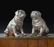 A PAIR OF ITALIAN SILVER PUG-FORM WINE COOLERS, POSSIBLY BUCCELLATI, LATE 20TH CENTURY  