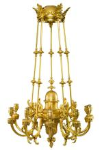 FERDINAND BARBEDIENNE<BR>FRENCH, 1810-1892<BR>A GILT BRONZE TEN-LIGHT CHANDELIER<BR>PARIS, CIRCA 1885 |
