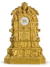 THOMIRE & CIE<BR>ANIMPRESSIVE GILT-BRONZE MANTEL CLOCK<BR>CIRCA 1840 |