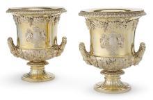 A PAIR OF ROYAL DUCAL GEORGE IV SILVER-GILT WINE COOLERS, ROBERT GARRARD I, LONDON, 1816  