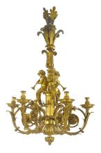HENRI DASSON<BR>FRENCH, 1825 - 1896<BR>A LOUIS XVI STYLE GILT BRONZE SIX-LIGHT CHANDELIER<BR>PARIS, DATED 1889, AFTER THE MODEL BY PIERREGOUTHIÈRE |
