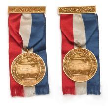 CHARLES LINDBERGH'S AWARD-WINNING FLIGHT: TWO AMERICAN GOLD MEDALS, CIRCA 1927 |